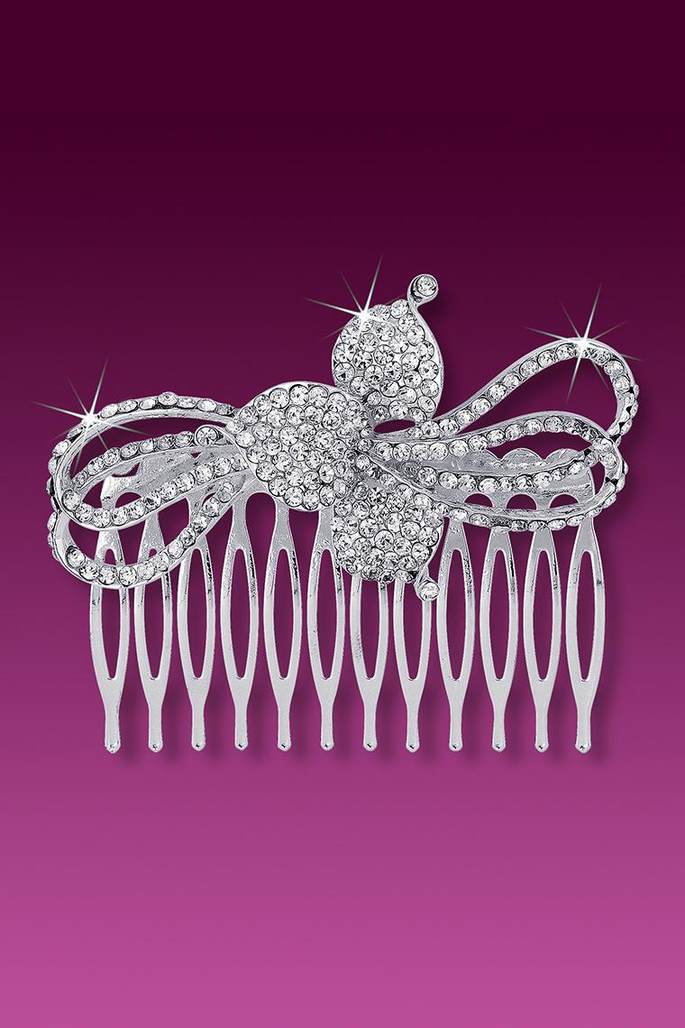 Floral Ribbon Large Crystal Rhinestone Hair Comb