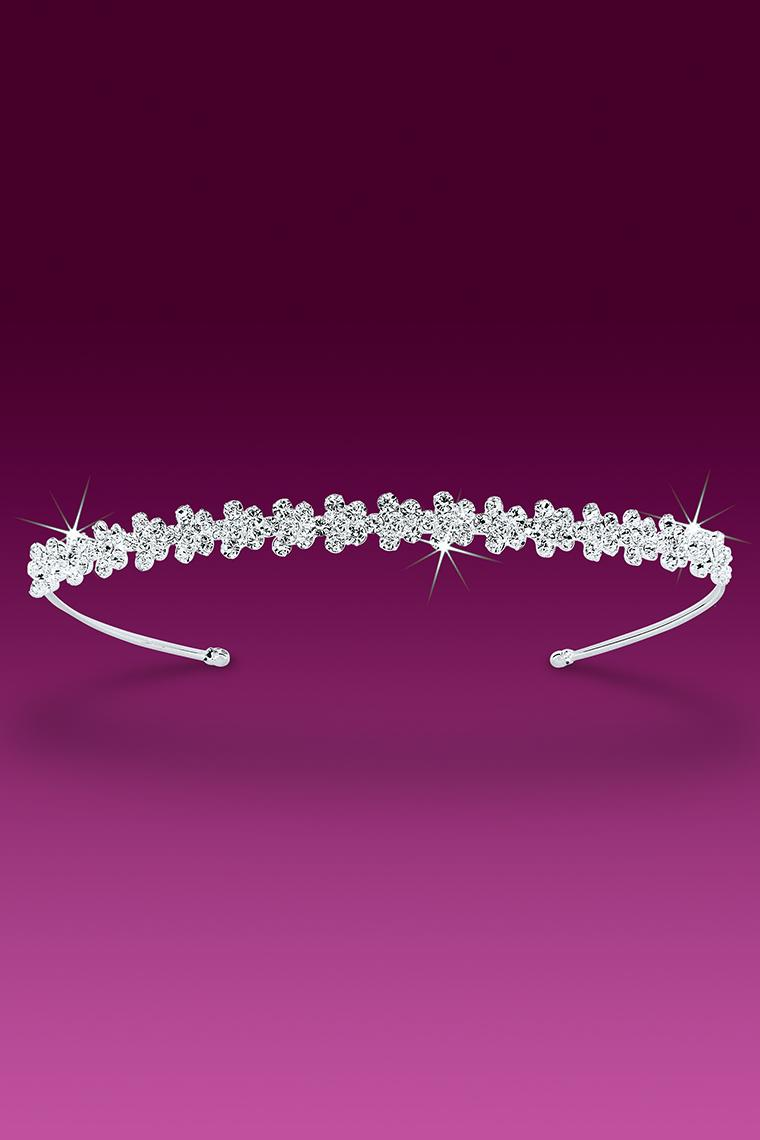 Pretty Flowers in a Row Crystal Rhinestone Headband