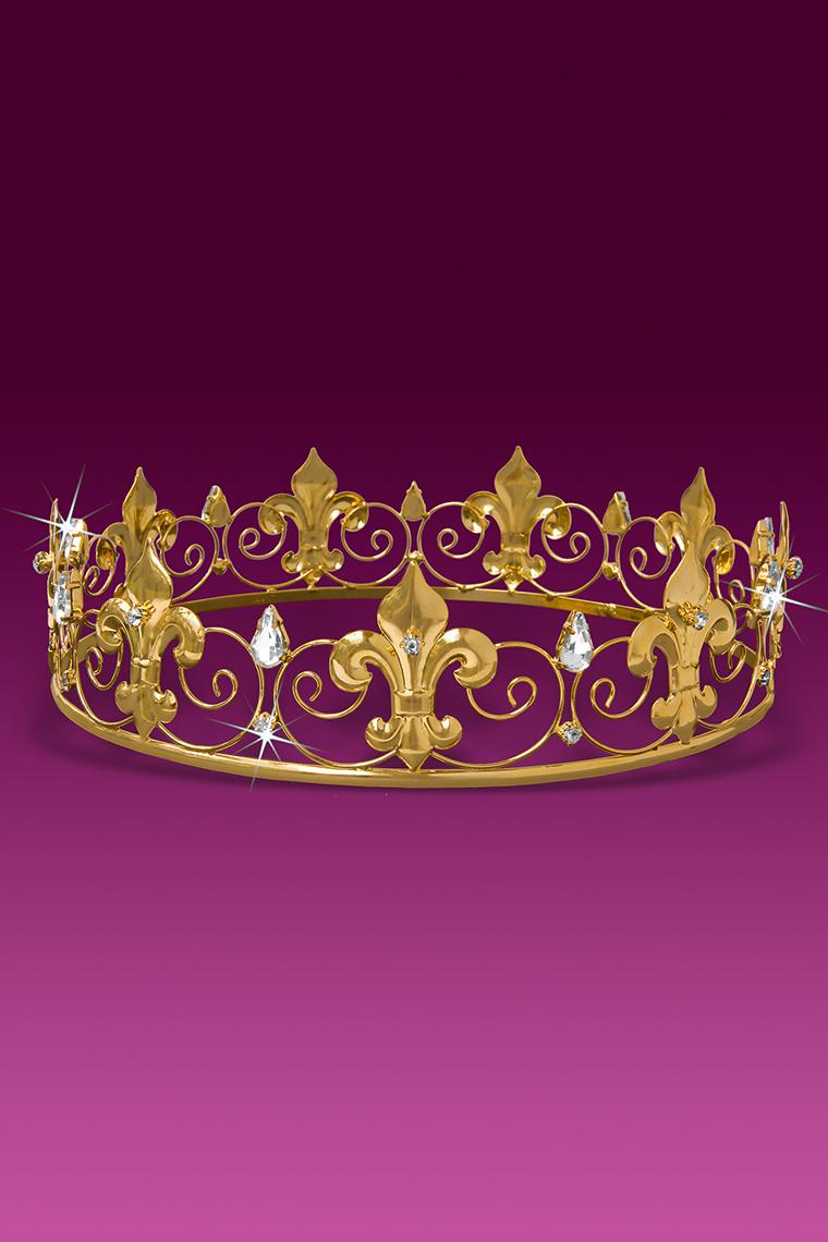 Fleur De Lis Crystal Rhinestone Men's King Crown - Gold
