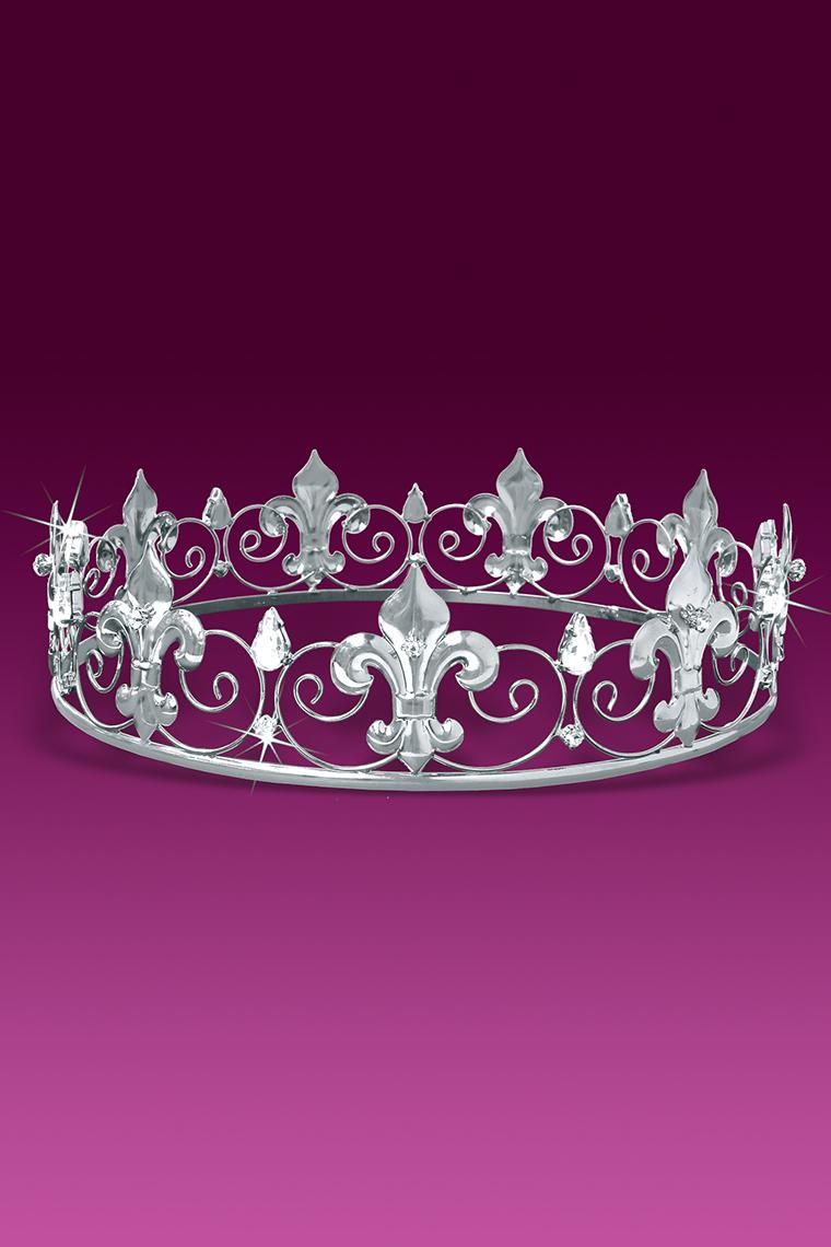 Fleur De Lis Crystal Rhinestone Men's King Crown - Silver