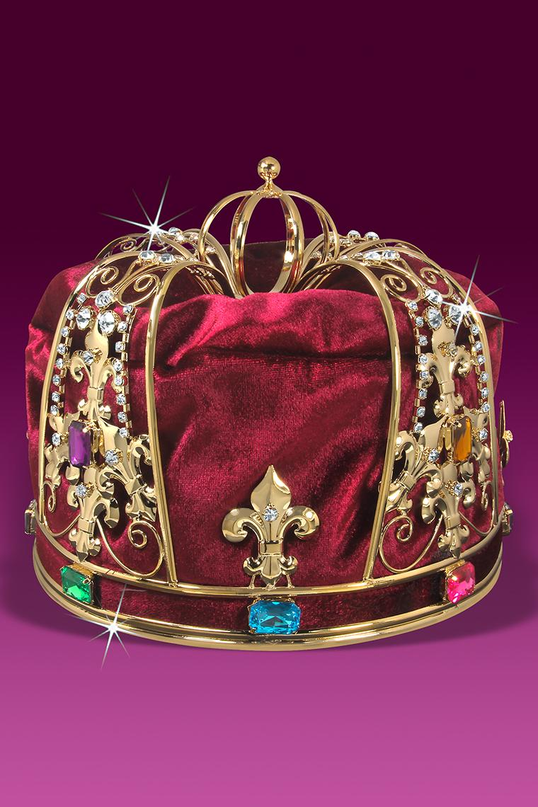 Royal Red Velvet Men's King Crown