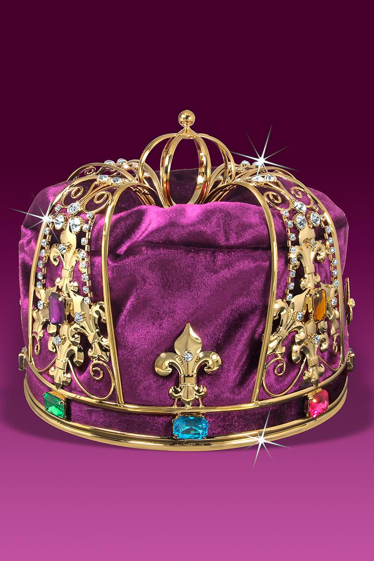 Royal Purple Velvet Men's King Crown