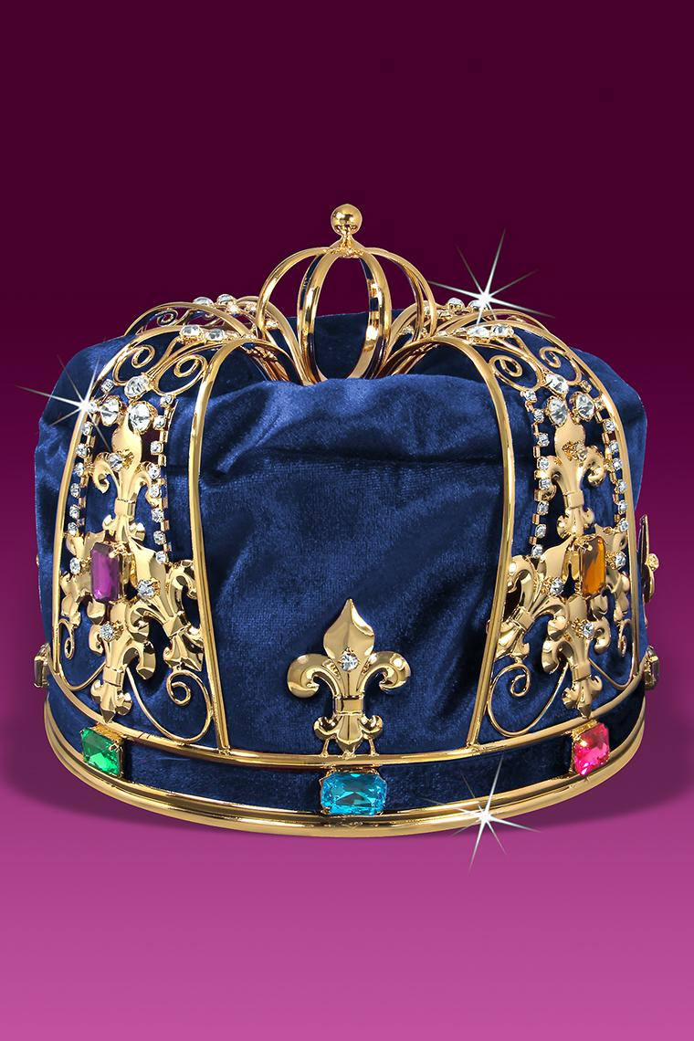 Royal Blue Velvet Men's King Crown