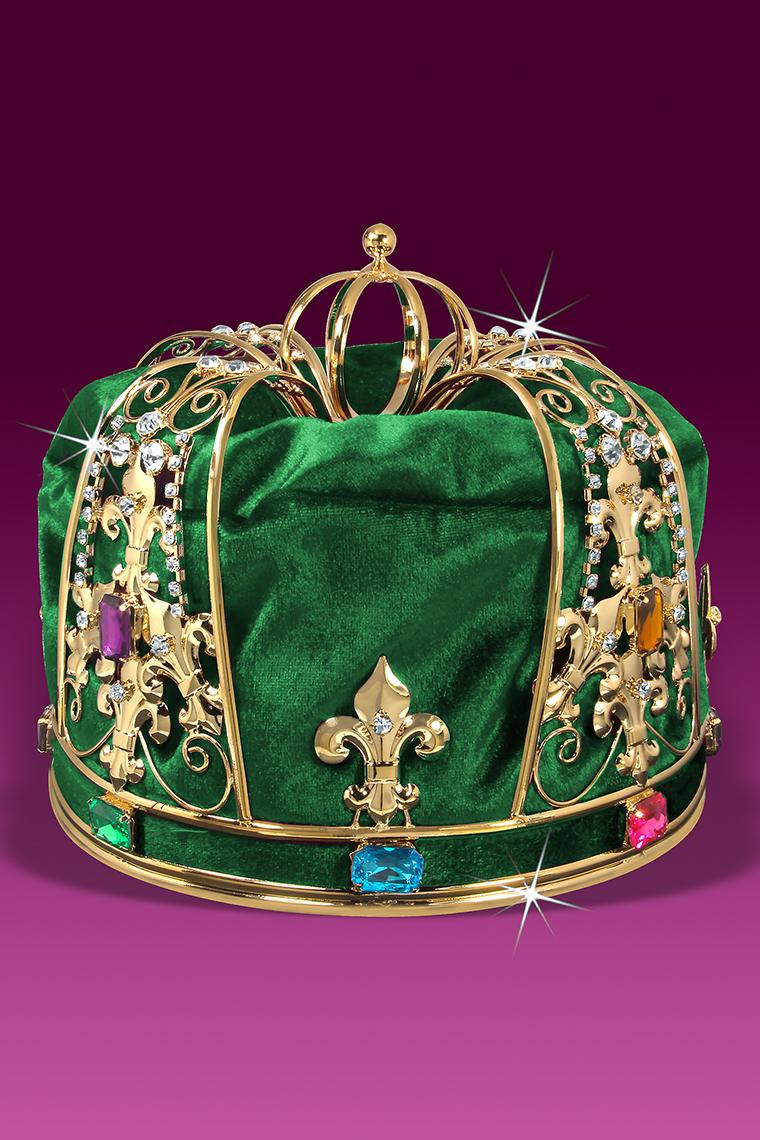 Royal Green Velvet Men's King Crown
