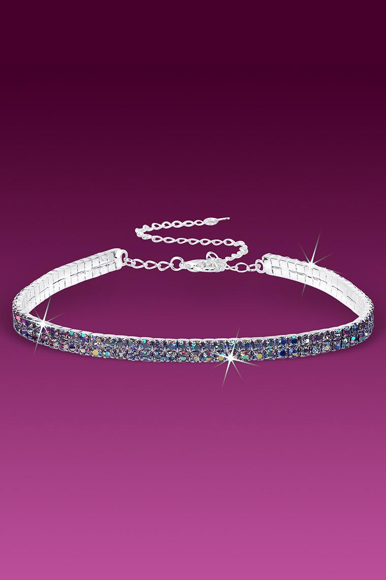 Crystal AB 2-Row Stretch Rhinestone Choker Necklace