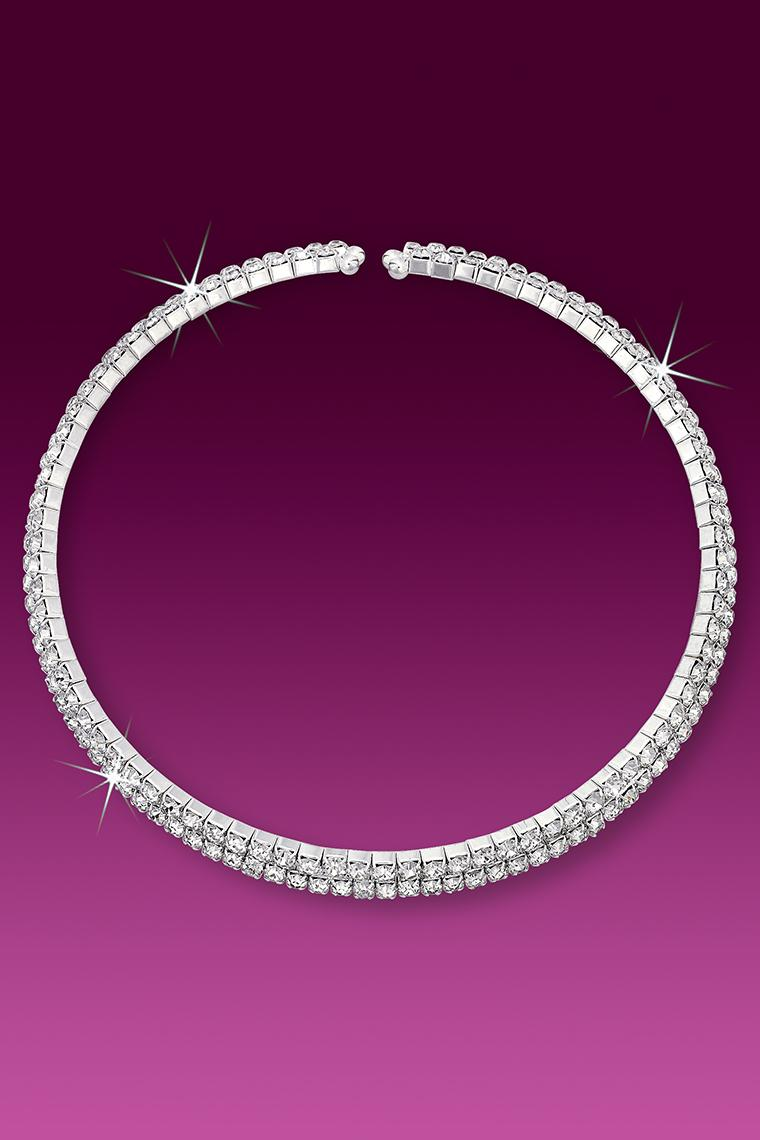 2-Row Wrap Around Coil Rhinestone Collar Necklace