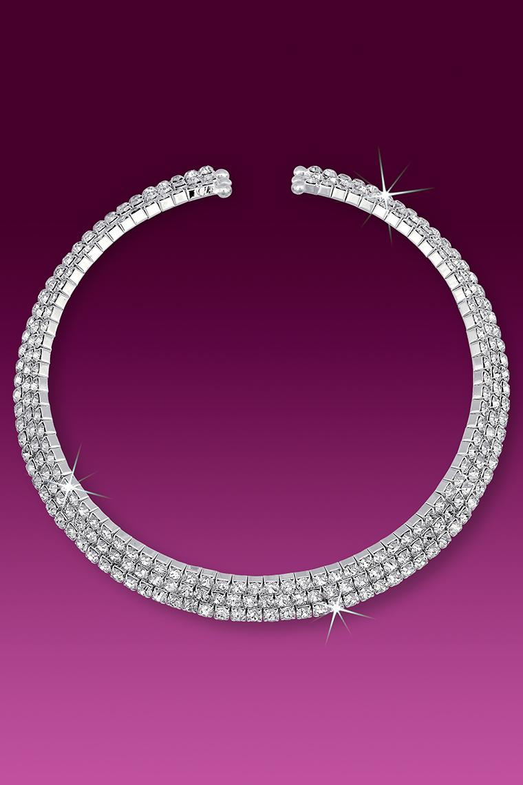 3-Row Wrap Around Coil Rhinestone Collar Necklace