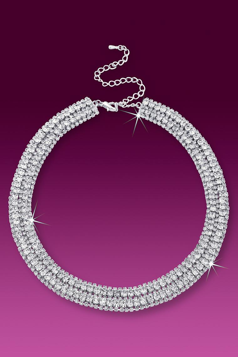 Stunning 5-Row Crystal Rhinestone Collar Necklace