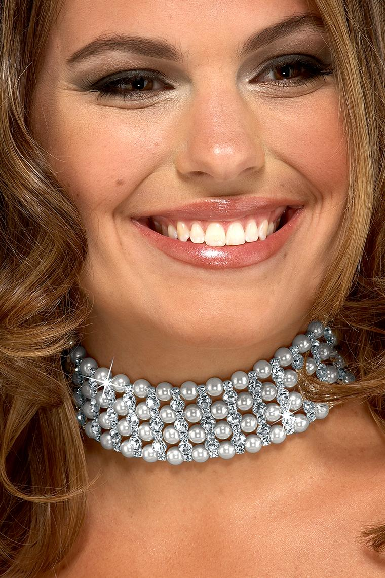 Best Fancy Pearl and Crystal Rhinestone Choker Necklace