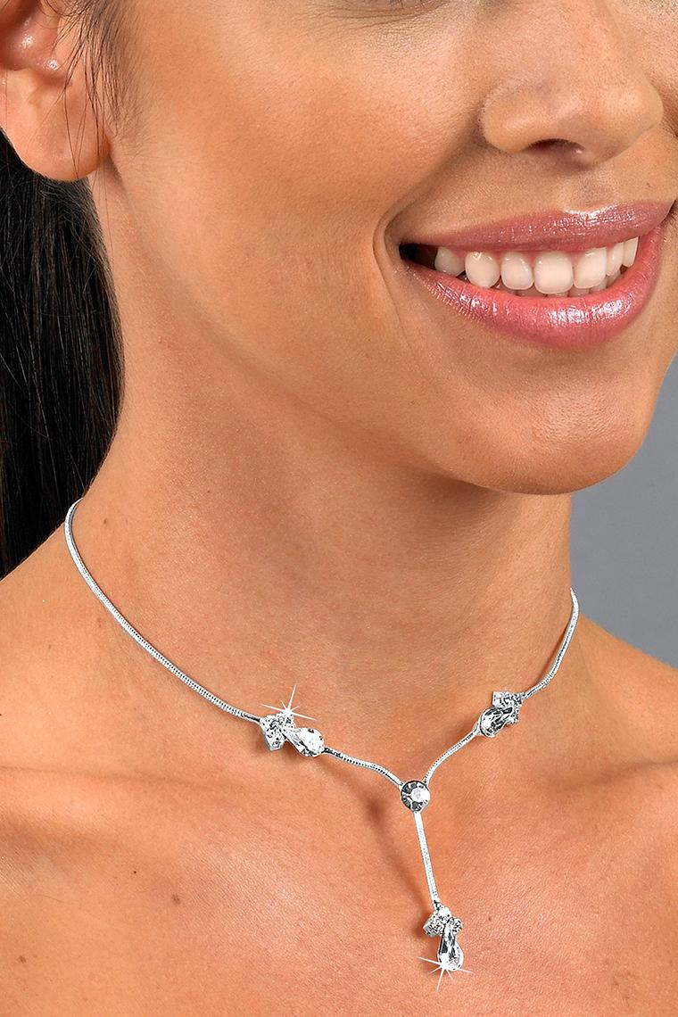 Clustered Pear Crystal Rhinestone Drop Necklace