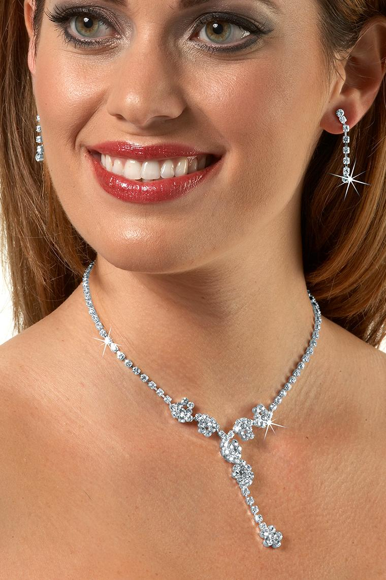 Sparkling Flower Drop Crystal Rhinestone Necklace Set