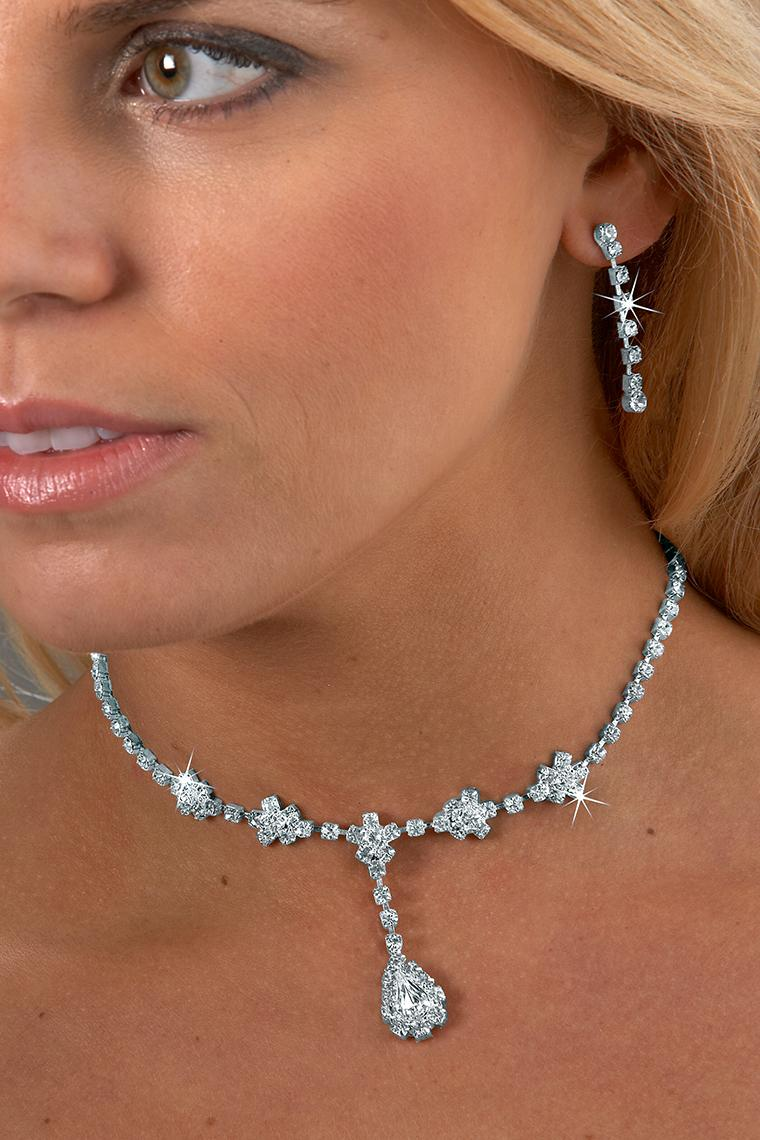 Large Jewel Drop Crystal Rhinestone Necklace Set