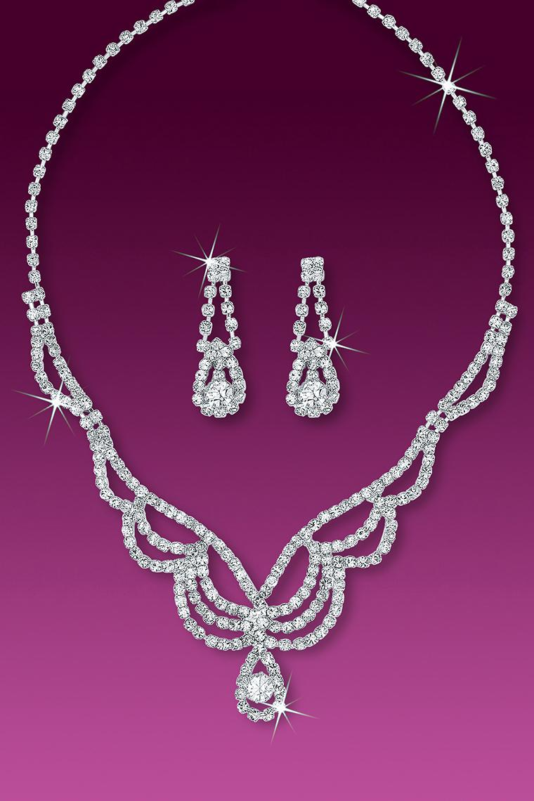 Red Carpet Crystal Rhinestone Necklace Set