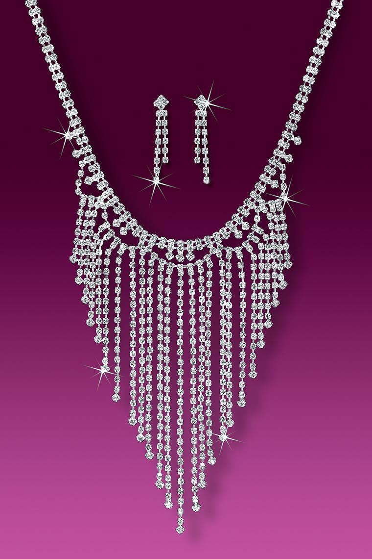 Glittering Crystal Rhinestone Dance Jewelry Necklace Set