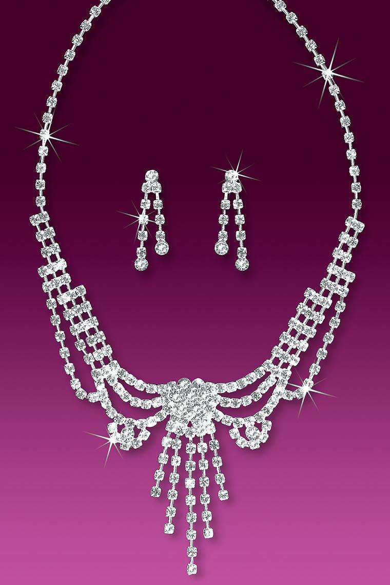 Victorian Inspired Crystal Rhinestone Jewelry Set