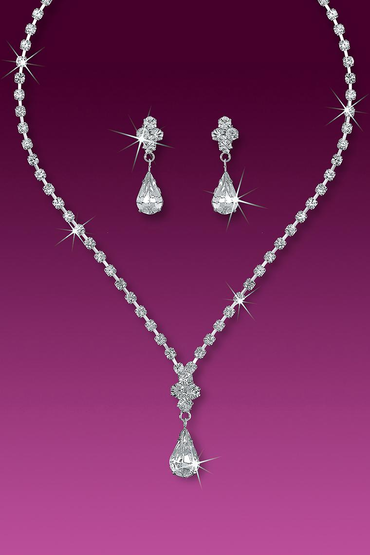 Crystal Rhinestone Drop Neck and Earring Set