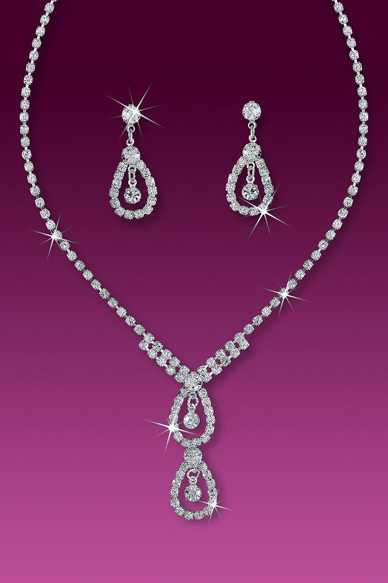 High Society Crystal Rhinestone Necklace Set