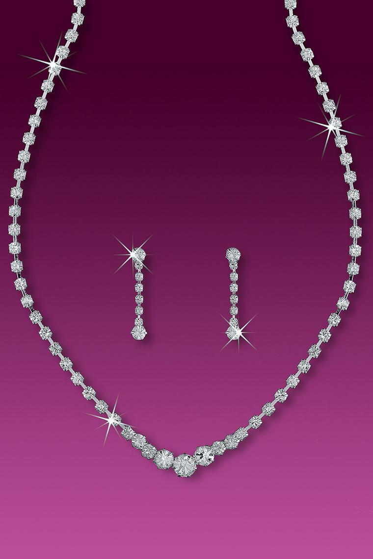 Crystal Rhinestone Bridesmaid Tennis Necklace Set