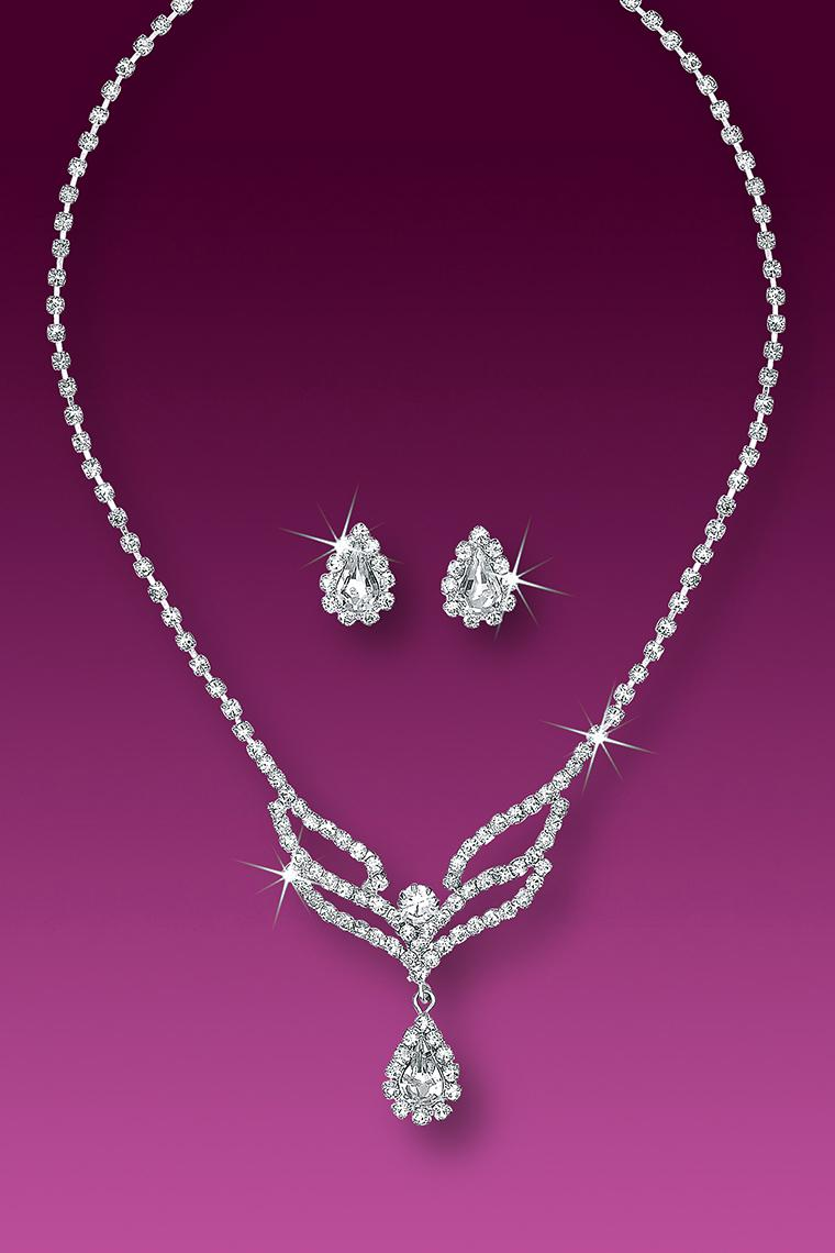 Princess Rhinestone Drop Necklace and Earring Set