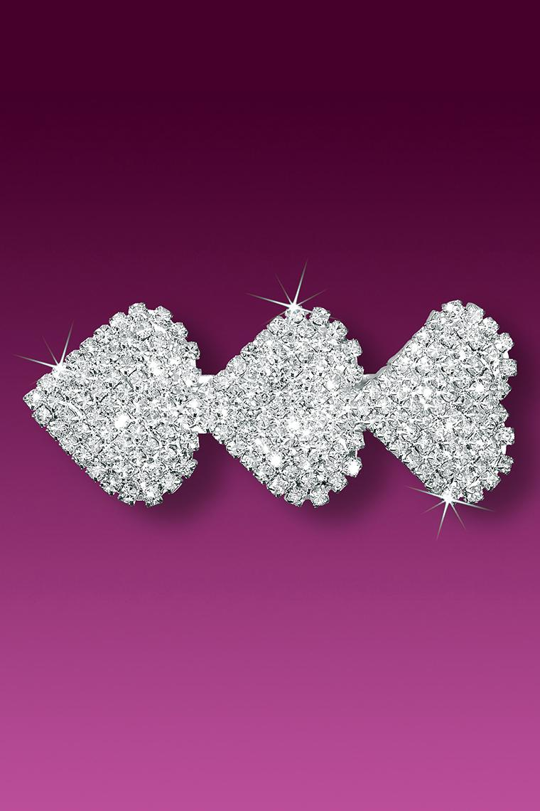 Triple Pave Heart Crystal Rhinestone Hair Clip