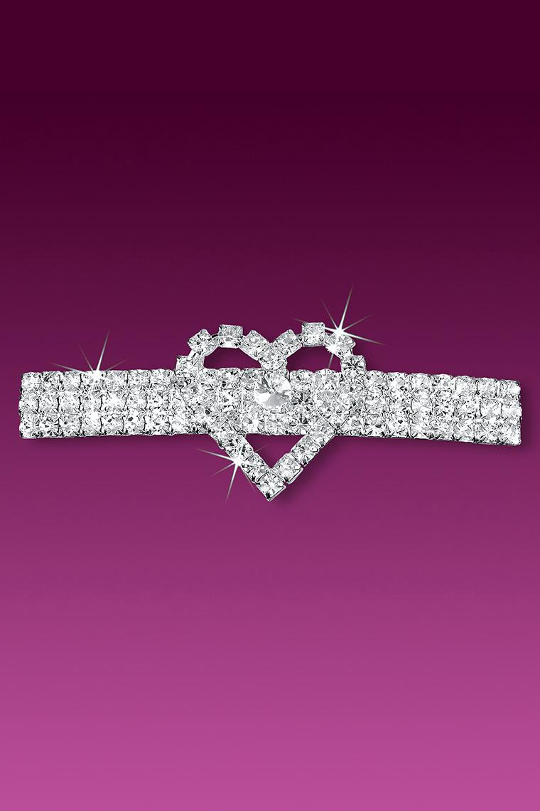 Single Heart Crystal Rhinestone Hair Clip