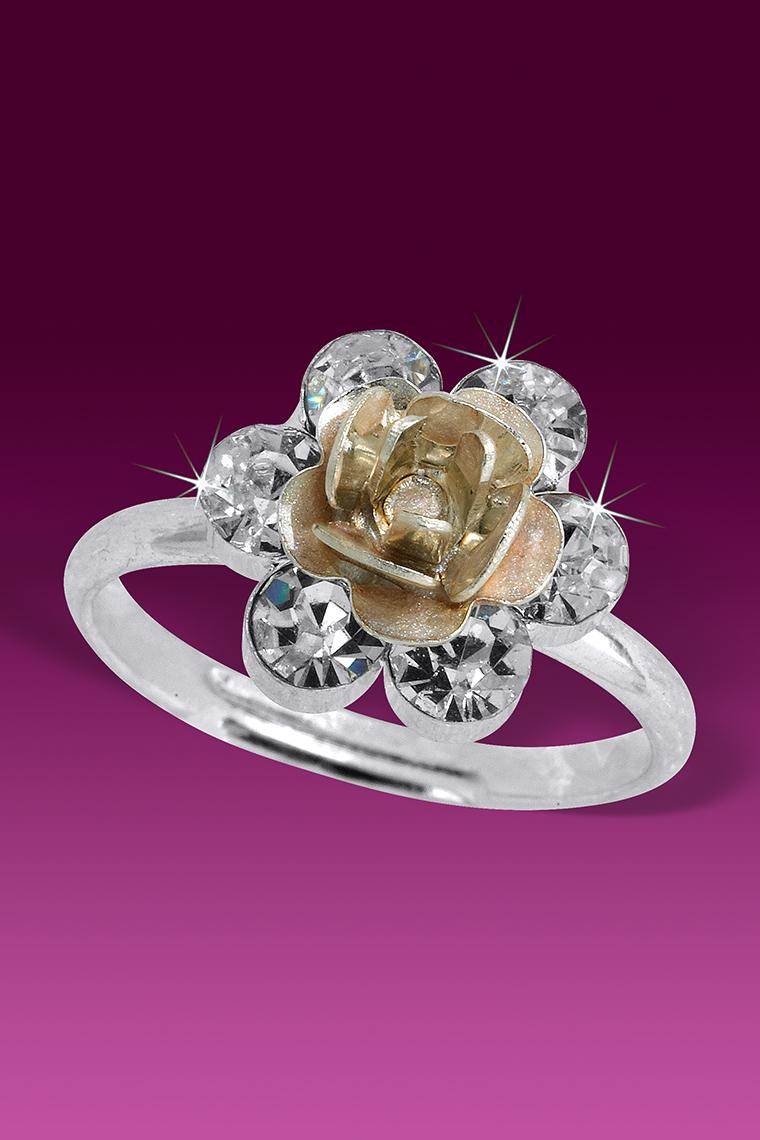 Flowering Petals Crystal Rhinestone Ring