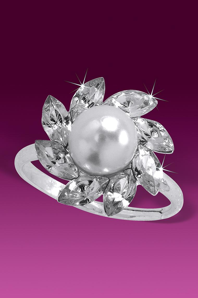 Pearl and Marquis Cluster Crystal Rhinestone Ring