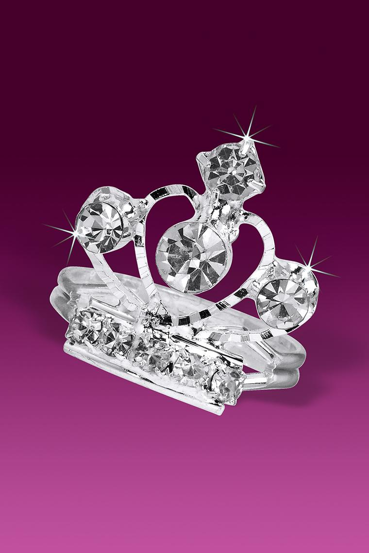 Dazzling Heart Crystal Rhinestone Tiara Crown Ring