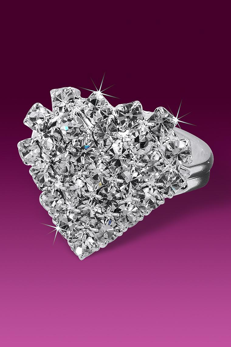 Pave Style Crystal Rhinestone Heart Ring