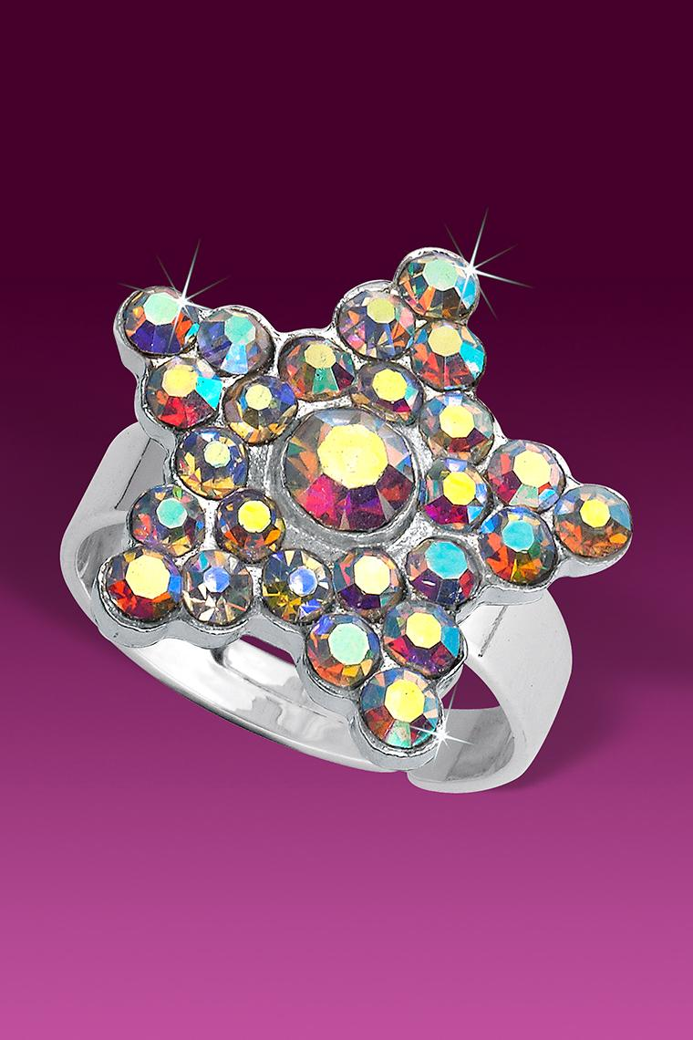 Crystal AB Shining Star Rhinestone Ring