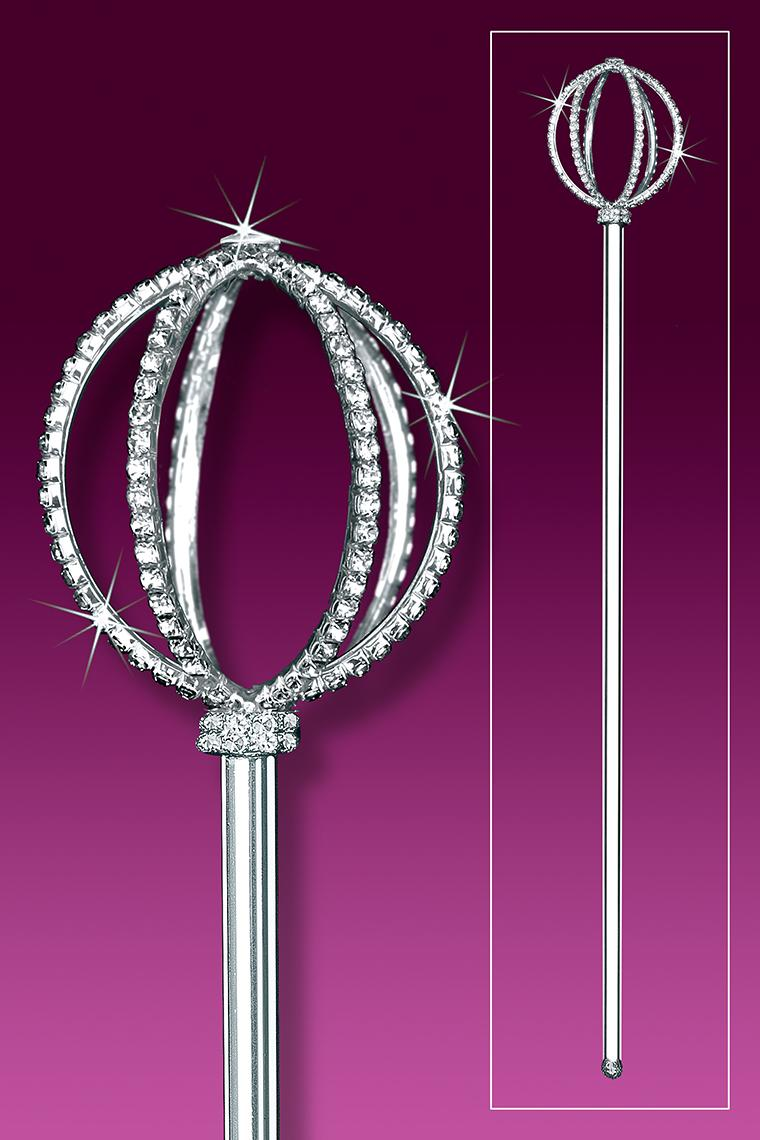 Crystal Rhinestone Scepter With Bejeweled Oval Top