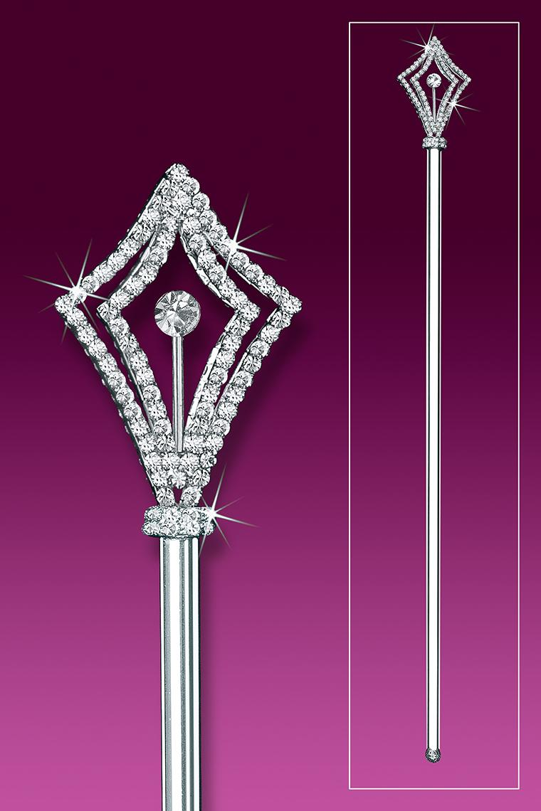 Crystal Rhinestone Scepter With 2 Sided Regal Diamond Top