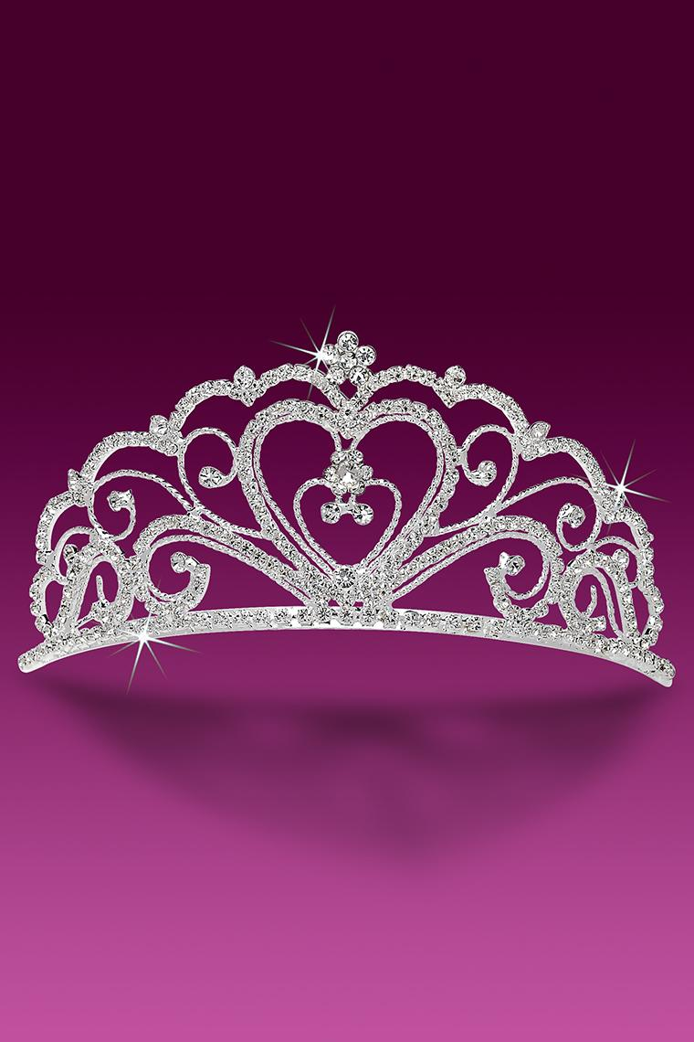 Regal Heart Crystal Rhinestone Tiara Pageant Crown
