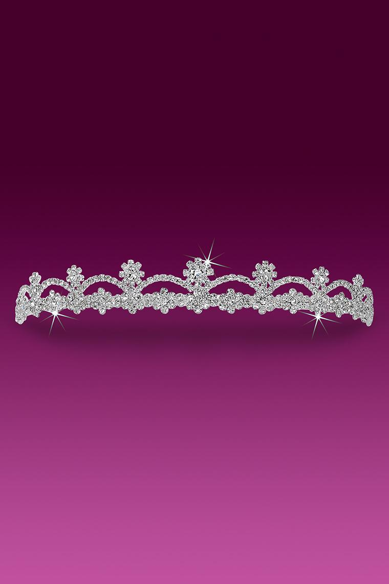 Pretty Floral Crystal Rhinestone Wedding Tiara