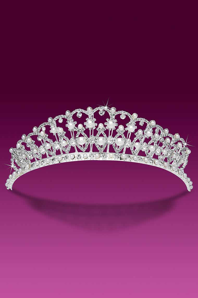 Majestic Pearl and Crystal Rhinestone Wedding Tiara