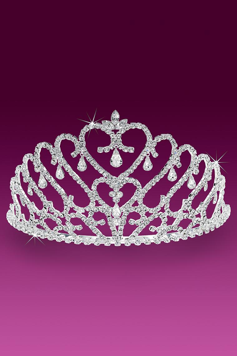 Majestic Heart Crystal Rhinestone Pageant Tiara