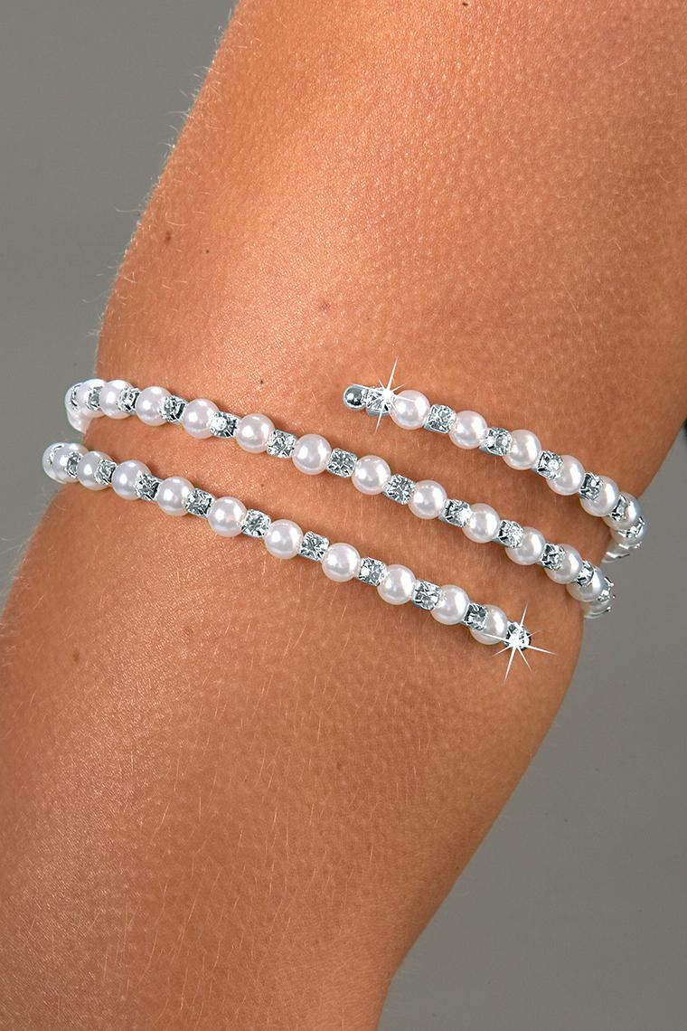 Pearl and Rhinestone Arm Bracelet