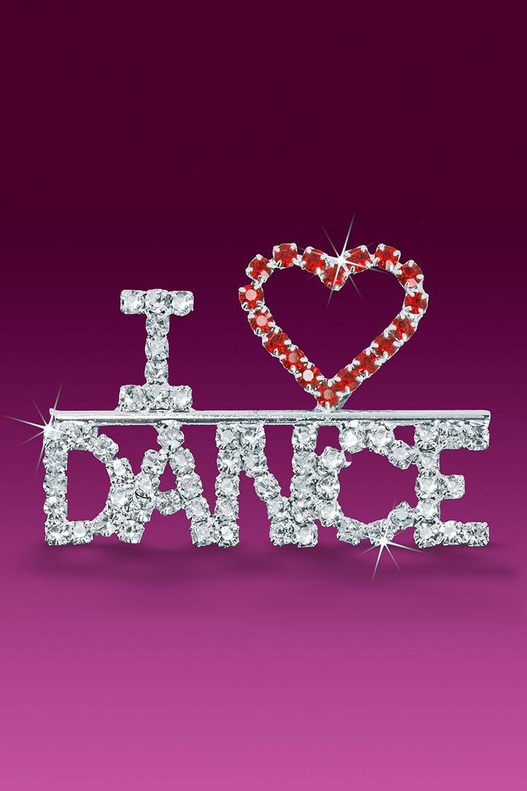 I Love Dance Rhinestone Word Pin