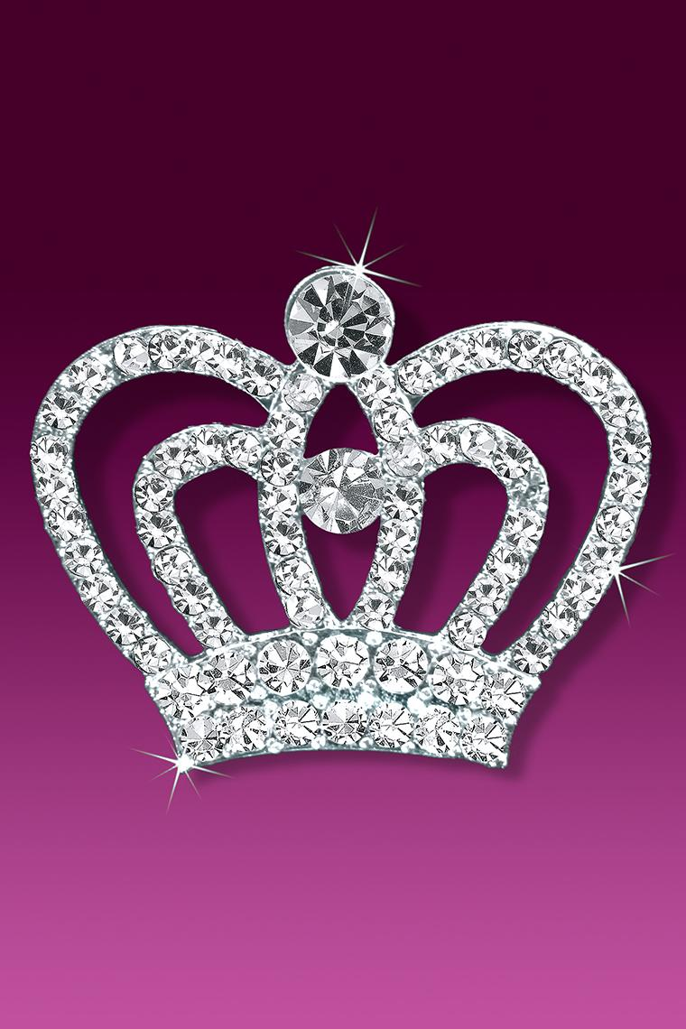 Her Majesty Rhinestone Tiara Crown Pageant Pin Brooch